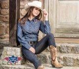 Westernbluse Denim-Look AVA